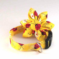 Dog Collar Flower Set Adjustable Red Ladybug by LittleDogFashion