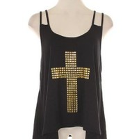 Amazon.com: G2 Chic Studded Cross High Lo Tank: Clothing