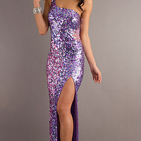 One Shoulder Long Sequin Dress