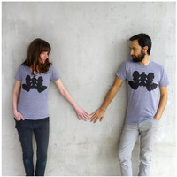 Mens tshirt - S-XL - wolf inkblot screenprint on heather gray track tees - Wolf Like Me - mens fashion - gift for him