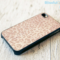 iphone case - leopard on printed wood