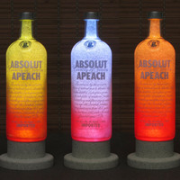 Absolut Apeach Peach Vodka Color Changing LED Remote Controlled Eco LED Bottle Lamp/Bar Light / Intense Sparkle-Bodacious Bottles-
