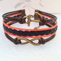Infinity Bracelet-Love Bracelet, Retro Bracelet. Brown Wax Cords and Black braid bracelet.
