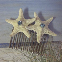Jeweled Starfish Comb, Beach Wedding