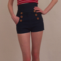 High waisted nautical style short shorts