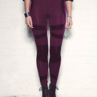 Mink Pink Smooth Operator Panelled Leggings In Wine
