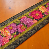 Table Runner Flower Burst - $38.00 - Handmade Crafts by PatchworkMountain