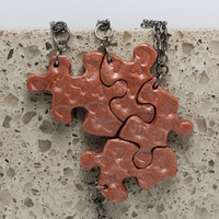 Puzzle Necklace Polymer Clay Friendship Jewelry Set of 4 Necklaces Double Hearts Set 114