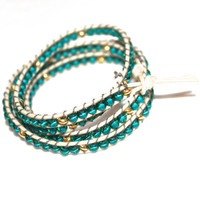 Aqua Czech Glass Gold Vermeil Beaded Boho Bracelet Leather Wrap Handcrafted Jewlery FizzCandy Ready to Ship