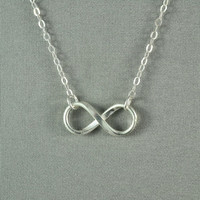 Forever LOVE, INFINITY Necklace, Fine Silver Charm, Sterling Silver Chain, Modern, Simple, Pretty, Lovely Necklace
