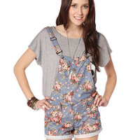 Papaya Clothing Online :: SUSPENDERS FLORAL DENIM ROMPER