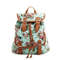 Floral Canvas Backpack: Charlotte Russe