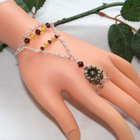 Sunflower Slave Bracelet Ring Hand Jewelry