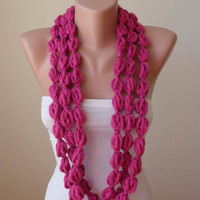 Mother's Day - Wool Crochet Chain Knit Necklace Scarf - Pink - Soft - Infinity -Circle - Circular - Cowl by Umbrella Design