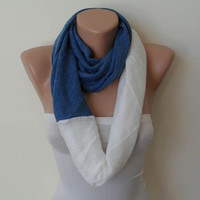 Mother's Day - Soft Tricot Fabric Infinty - Blue and White - Cowl - Loop Scarf by Umbrella Design