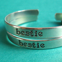 Bestie Friendship Bracelets - Set of 2 hand stamped Friendship Bracelets aluminum cuffs