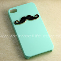 Iphone 4 Case, Black Mustache Iphone 4S case, Light Green Iphone case, For Iphone 4, Iphone 4s