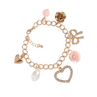 Rhinestone Bow Charm Bracelet | Shop Accessories at Wet Seal