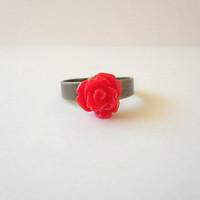 LAST CHANCE SALE - Dainty Red Rose Ring on Antique Brass
