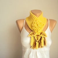 Yellow Pretty Scarflette Winter Accessories  by SRPLdesign on Etsy