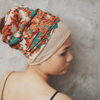 When the Leaves Fall-  Extra wide Hippie Turban Headband - mable leave pattern print