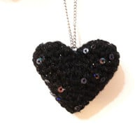 Black Sequin Heart Necklace, Crochet Heart Necklace, Crochet Necklace, Statement Necklace, Gift for Her, Crochet Necklace