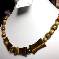 Bold and Chunky Tiger Eye Gemstone Necklace Handmade Jewelry 20 Inch