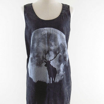Deer The Moon Night Shirt -- Deer Shirt Deer T-Shirt Bleach Shirt Black Shirt Women Shirt Tank Top Sleeveless Tunic Singlet Size M