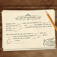 Wedding adlibs wedding madlibs wedding ad libs by lindsayleedesign