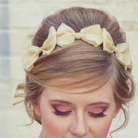 Three little bows headband for adults women hair by BeSomethingNew