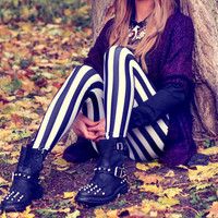 Vertical Striped Jail Leggings from Milly Kate