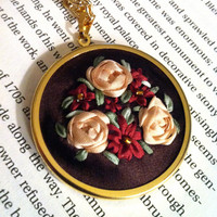 Burgundy and Cream Flower Pendant Silk by BeanTownEmbroidery