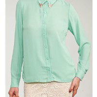 Mint Gold Collared Tip Button Down Blouse   Tanny&#x27;s Couture LLC