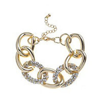 14 carat yellow gold diamante curb bracelet