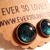 summer nights and starry skies black dark green earrings by eversolovely