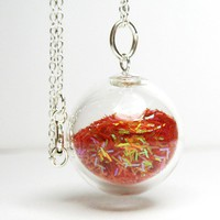 Red iridescent tinsel glitter in hand blown glass by thestudio8