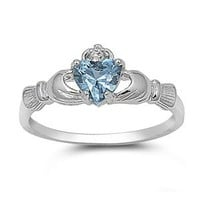 9MM 2ctw Sterling Silver MARCH LIGHT BLUE AQUAMARINE BIRTHSTONE ROYAL HEART Claddagh Ring 4-10