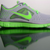 Nike Free Run+ 3 510643-031 Wolf Grey Electric Green Womens Running Sneakers