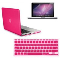 SmackTom(TM) 3 in 1 Rubberized Hard Case Skin for Macbook Pro® 13 inches A1278 with Protective Keyboard Cover-Hot Pink