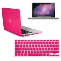 SmackTom 3 in 1 Rubberized Hard Case Skin for Macbook Pro 13 inches with Protective Keyboard Cover-Hot Pink