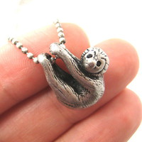 Baby Sloth Realistic Animal Charm Necklace in Silver