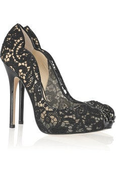 Jimmy Choo | Faith lace and patent-leather pumps | NET-A-PORTER.COM