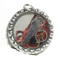 Splash of Red Steampunk Resin Bottlecap Pendant