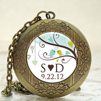 Personalized Wedding Date Locket - Antique Bronze Photo Art Locket - Love Birds Personalized Wedding Date Locket -  Weddings