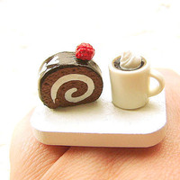 Kawaii Ring Food Coffee Chocolate Roll Cake by SouZouCreations