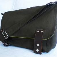 Dark Green Canvas Single Strap Messenger bag / Cross by ottobags