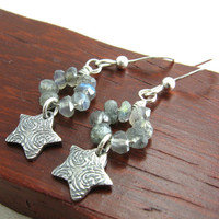 Starry Night Labradorite Gemstone Earrings Artisan Sterling Silver Star Earrings with Gemstones