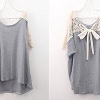 Grey Loose Casual T-shitr Batwing Sleeves Boat Neck Casual