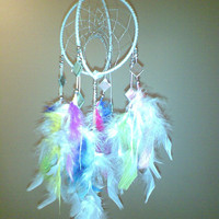 Double Swirl Angel DreamCatcher with Tiny Mirrors,White and Rainbow