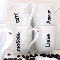 4 Love in Different Languages Porcelain Coffee by SwirlyGarden